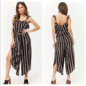 Forever 21 Primi Striped Crop Top & Pant Set Black